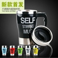 Wholesale High quality Stainless steel Self stirring Mug with cap coffee cup ML PP plastic and Stainless steel coffee mug DHL shipping