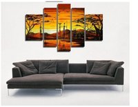 africa mountains - hand painted wall art Africa mountain birds home decoration abstract Landscape oil painting on canvas p