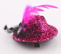mini hat hair clip - New Fashion Lady Mini Hat Hair Clip Feather Top Cap Lace fascinator Costume Accessory hairpins JJAL ZH120