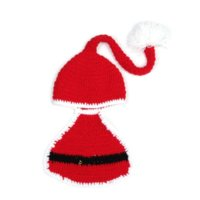 Wholesale Baby Red Christmas Santa Claus Cosplay Newborn Infant Clothes Suits Photo Props Hat Cap Crochet Wool Costume Outfits Set XDT10