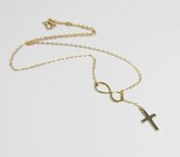 gold cross necklaces - Min pc Gold silver infinity and cross pendant necklace tiny infinity and cross symbol necklace XL130