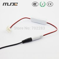 Wholesale 5PCS Hot Sale New MM MM PCB LED Strip Connector Cable Wire to AC DC adapter with a Switch ON OFF