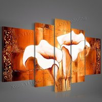 Wholesale Handmade High Quality Abstract Modern Wall Decor Calla Lily Flower Wall Art Orange Wall Painting Living Room Decoration Pictures