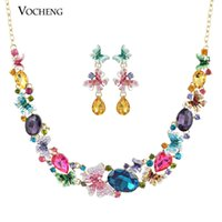 Wholesale Luxury Gorgeous Colourful Butterfly Austrian Crystal Statement Necklace and Earring Jewelry Set Vs Vocheng Jewelry