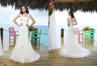 Cheap Sparkle A line Square Sinceritybrida Beach Wedding Dresses 3770 Beads Tulle Lace Appliques Backless Pleat Chapel Train 2015 New Bridal Gowns