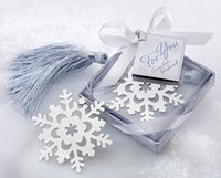 beautiful paper snowflakes - 30pcs Gift Box Silver Beautiful Metal Snowflake Bookmark with tassel For Books Baby Shower wedding favors gifts Xmas day Gift