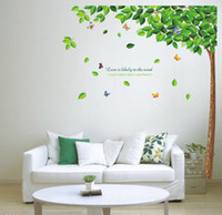 Wholesale Oversized Green Tree Shade TV Wall Stickers Vintage Home Decor Vinilos Infantiles Adhesive To Wall Adesivo De Parede Infantil