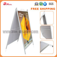 floor stand display - to India Korea Japan UK Metal A Poster Snap Clip Frame Stand Trade Show Flooring Display Stand Sign Holder Pavement Signs