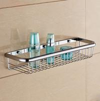 bath shower shelves - Wall mounted bathroom shelf copper chrome single layer shower storage basket rectangle bath shelves bathroom accessories