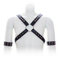 Cheap 2015 Free Shipping Sex Bondage Harnesses Open Boobs Rivet Training Corset with Chastity Belt Fetish Wear men fantasy