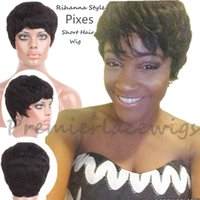 Wholesale Pixes Style Rihanna Inspired130 density A human hair wigs Soft feeling natural Wave Indian Remy Short wigs for black women