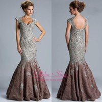 Wholesale 2014 Fall Sexy Lace Mother Of Bride Dresses with Backless Sequins Beaded Applique Lace Floor Length Cap Sleeves Mermaid Evening Gowns jq3305