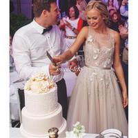 basque belt - Paolo Sebastian Collection Wedding Dresses Cheap Spring Beach Sleeveless Beaded Pearls Applique Belt Floor Length Vintage Bridal Gown