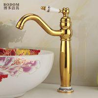 Wholesale European antique golden basin taps all copper rotating platform basin basin counter basin Single cold faucet