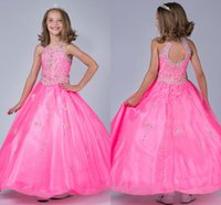 affordable flower girl dresses - Affordable Luxury flower girls dresses for weddings Sequined Ball Gown Dress Girls Halter Beaded Floor Length Stunning Girls Pagent Gowns