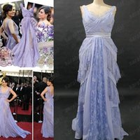 Wholesale Mila Kunis in Elie Saab rd Oscar Awards Celebrity Red Carpet Evening Dresses Dreamy Lace Chiffon Lavender Backless Wedding Guest Gown
