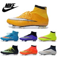 Wholesale Nike Men s Mercurial Superfly FG CR7 Shoes Soccer Boots Cleats Laser original Men shoes Soccer Shoes Football Shoes