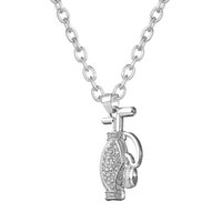 american golf bags - Pendant Necklaces Golf Bag Sports Lobster Clasp Crystal Jewelry Link Chain Zinc Alloy For