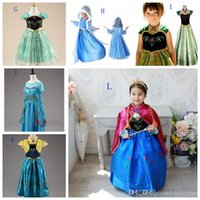 Wholesale New In Stock Kids girls frozen dresses elsa anna girl cosplay dress children custome clothes fashion skirts cape Christmas gifts