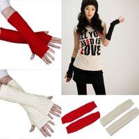 cotton knitted gloves - Lady Long Arm Fingerless Gloves Mitten Autumn Winter Warm Knitting Cotton Long Gloves Colors Choose DME