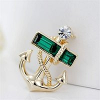 Earrings & Bracelet Women's Trendy 2015 New Design Hot Sale European Retro Navy Style Pirates Brooch Anchor Crystal Brooch For Women And Men Free Shipping