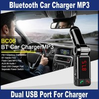 Wholesale 40PCS Handsfree Wireless Car Bluetooth Kit Car Charger Dual USB Port V A LCD MP3 Player U Disk FM Transmitter for Mobile Phone OM CD4