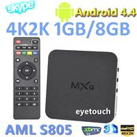 Wholesale Original MX MXQ XBMC TV BOX Amlogic S805 Quad Core Android K Video TV Channals XBMC Gotham Media Player Google Play Store Rooted