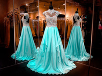 Wholesale Glamorous Real Images Chiffon A Line Prom Dresses High Neck Elegant Lace Appliques Cap Sleeves Sheer Formal Crystals Evening Pageant Gowns