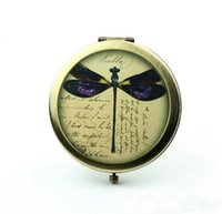 antique compacts - Vintage Dragonfly Pocket Mirror Personalized Compact Mirror Antique Bronze Silver Antique Pocket Mirrors