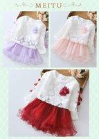 Wholesale Children S Wholesale Lace Dress - Korean Flower Girl Baby Lace Princess Dresses Children Dress Lovely Kids Clothing Girl Dress Fall Long Sleeve Vestido Infantil