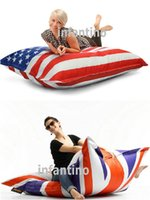 Wholesale HIGH QUALITY UK AND USA FLAG BEANBAG sofa cushion NEVER COLOR SHADE outdoor bean bag furniture seat DURABLE waterproof fashion portable sofa