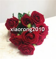 red velvet flower - Artificial Velvet Rose Bunch heads Piece Fake Chinese Red Rose Simulation Flowers for Wedding Party Floral Decorations