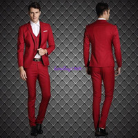 beige blazer men - Classic Slim Fits Red Groom Tuxedos Notch Lapel Groomaman Blazer Man Normal Business Suits Jacket Pants Vest tie NO