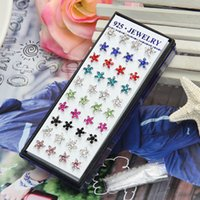 Wholesale Fashion Jewelry Women s Silver Plating Ear Studs Stylish Multi color Flower Crystal Rhinestones Earrings pairs box SC97