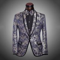 Wholesale 2015 New Arrival Men Suit Tuxedo Spring Fashion Mens Slim Fit Prom Floral Wedding Suits For Men Brand Groom Xl