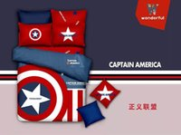 Cheap Brand New Captain America red 3 4pcs Bedding set 100% Cotton King Queen Twin Kids Cartoon Duvet Cover Set Bedset Free ship