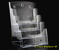 acrylic brochure - Clear A4 Four Tiers Pamphlet Brochure Literature Plastic Acrylic Display Holder Stand To Insert Leaflet On Desktop By Express