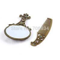Wholesale Mirror Makeup Blank Compact Mirror Portable Pocket Cosmetic Mirror Comb Handheld Salon Openwork Carving Surface Mirror
