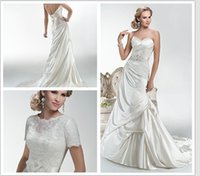 accent cover - 2016 satin slim A line gown with soft pickups accenting the skirt Corset back detachable Lace Bodice Hailey Wedding Dresses