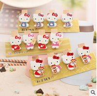 Wholesale Creative Cartoon Hello Kitty Mini Clips Mixed Wood Clothespin Clips Note Pegs Mixed for Photo Paper Clothes For DIY