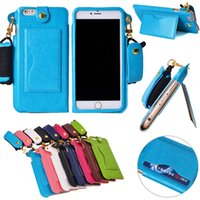 adjustable hanging - Folding Stand Credit Card Holder Leather Cover Case W Adjustable Detachable Lanyard Hanging Neck Strap for iPhone G Plus G S IP6C112