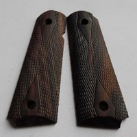 Wholesale colt full size government ebony wood grips with hand carved checkers and diamonds