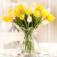 arranging tulips - 21pcs PU single small silk tulip artificial simulation flowers for house adornment decoration by arranging art