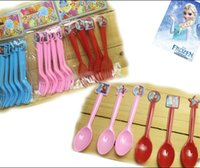 party supplies - New plastic fork spoon FROZEN ANNA ELSA children s birthday party decorations Party supplies Cutlery Christmas gift MC