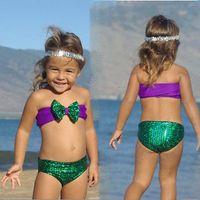 Wholesale 2015 Sequins Baby Girls Kids Mermaid Fancy Bow Two piece Swimwear Swimsuit Bikini set sets