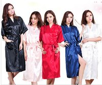 Robes silk robe - Fashion Women s Solid Silk Kimono Robe for Bridesmaids Wedding Party Night Gown Pajamas colors available