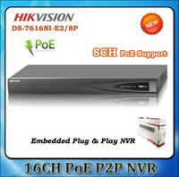 Precio de Tercero-HIKVISION NVR DS-7616NI-E2 / 8P Mejor grabadora de vídeo en red Salida HDMI y VGA Cámaras de red de terceros compatibles