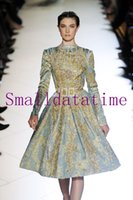 Reference Images Scalloped Tulle Hot sale long sleeve beaded crystal sequined knee length elie saab gold dresses evening