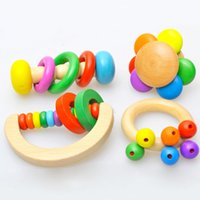 Wholesale 1pc Colorful Wooden Musical Instrument Noise Maker Baby Calm Rattle Early Educational Baby Toy