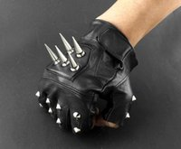 Wholesale Mens Leather Spike stud Punk Rocker Driving Motorcycle Biker Fingerless Gloves